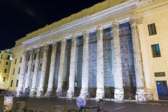 Temple of Hadrian. Night view of Temple of Hadrian Stock Photos
