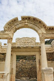 Temple of Hadrianus Ruins in Ephesus, Turkey Royalty Free Stock Images