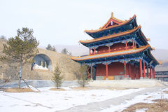 Temple hall. The great hall of Zhulin Temple in Wutai Mountain in Shanxi in China Stock Images