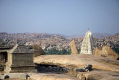 Temple in Hampi,India. Temple in the barren landscape of  Hampi,Karnataka,India Royalty Free Stock Images