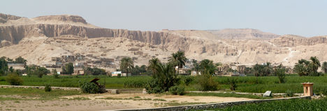 Temple of Hatshepsut. Landscape around The Mortuary Temple of Queen Hatshepsut in Egypt Stock Photo