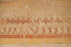 Temple of Hatshepsut wall paintings. These colourful paintings decorate the huge temple of Queen Hatshepsut Royalty Free Stock Photo