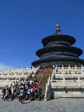 The Temple of Heaven. Under the blue sky,and a group of foreign visitors Stock Photos