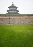 Temple of Heaven. Pagoda and wall in Beijing. Green grass in the foreground Royalty Free Stock Photo