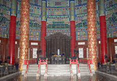 Temple of Heaven (Altar of Heaven), Beijing, China. Temple of Heaven (Altar of Heaven)-- Inside the Hall of Prayer for Good Harvests, Beijing, China Royalty Free Stock Photos