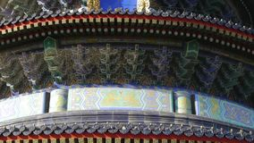 Temple of Heaven in Beijing.China ancient architecture.Painted Carved beam tile. stock video footage