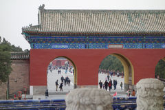 Temple of Heaven in Beijing. BEIJING, CHINA - APRIL 01, 2015: People visiting the Temple of Heaven Royalty Free Stock Photos