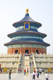 Temple of heaven, china. Chinese building detail, traditional China architecture. looking at a roof and beam detail of colorful artwork on a building, temple of Stock Photos
