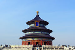 The Temple of Heaven front view with a clear blue sky background in Beijing, China Royalty Free Stock Photography