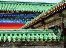 Temple of Heaven, green roof top ornament in detail, Beijing, China, Asia stock photography