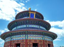 Temple of Heaven under pure blue sky with cloud in Beijing Royalty Free Stock Image