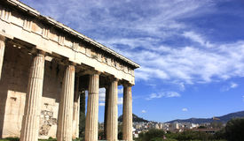 Temple of Hephaestus,athens. Architectural details of Temple of Hephaestus and Athena Ergane on Agoraios Kolonos hill royalty free stock photography