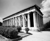 Temple of Hephaestus. The temple of Hephaestus in the old Greek Agora of Athens still stands mostly intact. (Scanned from black and white film Royalty Free Stock Images