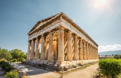 Temple of Hephaestus in Agora, Athens, Greece. It is one of the main landmarks of Athens. Sunny view of the ancient Greek Temple of Hephaestus. Famous royalty free stock photography