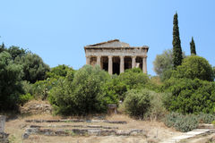 The temple of Hephaestus, Ancient Agora of Athens. The Ancient Agora of Classical Athens is the best-known example of an ancient Greek agora, located to the Royalty Free Stock Images