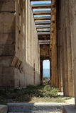 The temple of Hephaestus, Ancient Agora of Athens. The Ancient Agora of Classical Athens is the best-known example of an ancient Greek agora, located to the Stock Photo