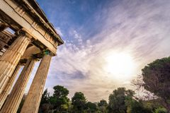 The Temple of Hephaestus in ancient market agora under the rock of Acropolis. Royalty Free Stock Photos