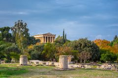 The Temple of Hephaestus in ancient market agora under the rock of Acropolis. The Temple of Hephaestus in ancient market agora under the rock of Acropolis Royalty Free Stock Photography
