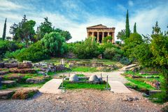 The Temple of Hephaestus in ancient market agora under the rock of Acropolis, Athens. Royalty Free Stock Photo