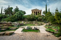 The Temple of Hephaestus in ancient market agora under the rock of Acropolis, Athens. Stock Images