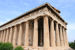 Temple of Hephaestus and Athena Ergane. It is a Doric order peripteral temple, located at the north-west side of the Agora of Athens, on top of the Agoraios Stock Images