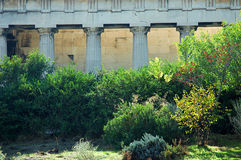 Temple of Hephaestus in Athens. Detail of the temple of Hephaestus in the ancient agora of Athens, surrounded by the trees of the park Royalty Free Stock Image