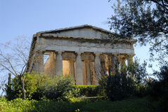 Temple of Hephaestus in Athens. The front side of the temple of Hephaestus in the ancient agora of Athens Royalty Free Stock Photo