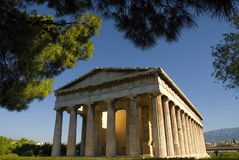 Temple of Hephaestus in Athens. The front side of the temple of Hephaestus in the ancient agora of Athens Royalty Free Stock Photos