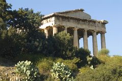 Temple of Hephaestus in Athens. The front side of the temple of Hephaestus in the ancient agora of Athens Stock Photo