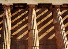 Temple of Hephaestus, close up of doric style columns. Athens. Royalty Free Stock Images