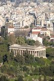 Temple of Hephaistos in park beside suburbs Stock Photography