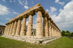 Temple of Hera the famous Paestum archaeological  site . Italy Royalty Free Stock Photo