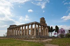 Temple of Hera at famous Paestum Archaeological UNESCO World Her Stock Images