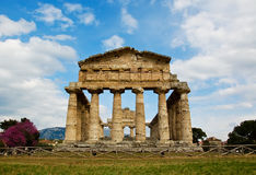Temple of Hera at famous Paestum Archaeological UNESCO World Her Stock Photos