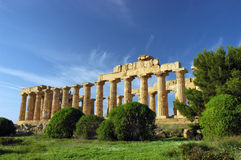 The Temple of Hera, at Selinunte. Selinunte (Latin: Selinus) is an ancient Greek archaeological site on the south coast of Sicily, southern Italy, between the stock photography