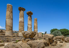 Temple of Heracles Dorian columns in the Valley of Temples - Agrigento, Sicily, Italy Stock Photo