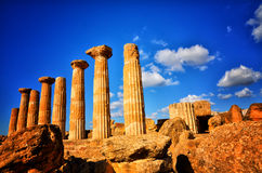 The temple of heracles in the Valley of the Temples, Agrigento, Sicily, Italy Royalty Free Stock Image