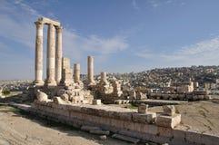Temple of Hercules in Amman. Ruins near the Citadel, Al-Qasr site, Jordan Stock Images