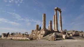 Temple of Hercules in Amman. Ruins near the Citadel, Al-Qasr site, Jordan Stock Photography