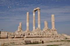Temple of Hercules in Amman. Ruins near the Citadel, Al-Qasr site, Jordan Royalty Free Stock Photos