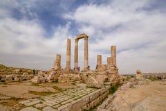 Temple of Hercules in Amman, Jordan. The great temple of Hercules at Citadel, Amman, Jordan was built between 162-166 AD Royalty Free Stock Photos