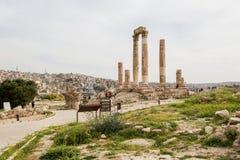Temple of Hercules in Amman, Jordan. The great temple of Hercules at Citadel, Amman, Jordan was built between 162-166 AD Stock Images