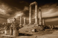 Temple of Hercules (Amman) in sepia stock photos