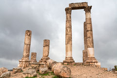 Temple of Hercules in antique citadel in Amman Stock Photo