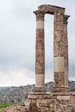 Temple of Hercules in antique citadel in Amman Stock Photos