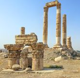 Temple of Hercules on the Citadel Mountain in Amman Stock Image