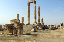 Temple of Hercules on the Citadel Mountain in Amman Stock Photo