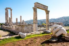 The Hercules temple in Amman royalty free stock image