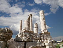 Temple of Hercules, Roman Corinthian columns at Citadel Hill, Amman, Jordan Royalty Free Stock Photos