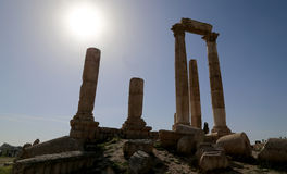 Temple of Hercules, Roman Corinthian columns at Citadel Hill, Amman, Jordan Royalty Free Stock Photography